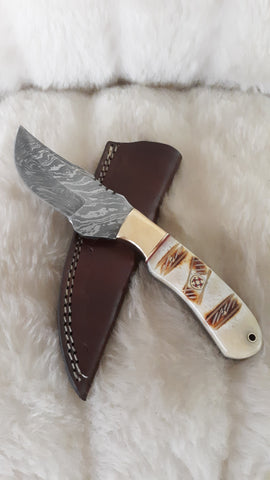 "CUSTOM DAMASCUS ""DESERT STORM"" CAMEL/BRASS KNIFE W/SHEATH"