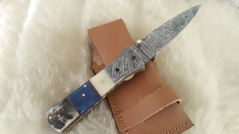 """SPIKE"" DAMASCUS CAMEL BONE/RAM POCKET KNIFE W/SHEATH"