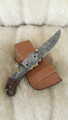"""GREY SKIES"" DAMASCUS POCKET KNIFE W/SHEATH"