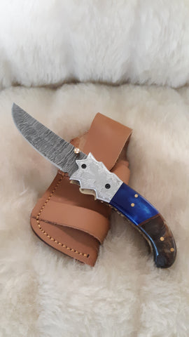 """BLUE CROWN"" DAMASCUS FOLDER W/SHEATH"