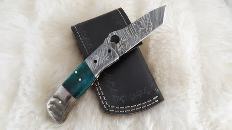 """BAHAMA BREEZE"" DAMASCUS/CAMEL/RAM HORN POCKET KNIFE"