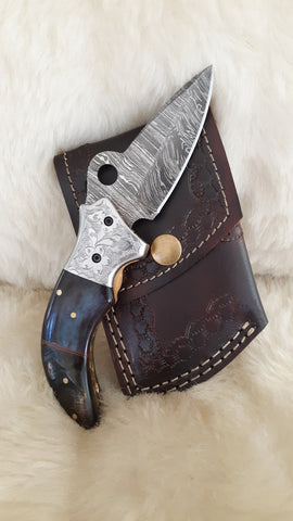 """MIDNIGHT MOON"" DAMASCUS/BULL HORN/RAM HORN FOLDER"
