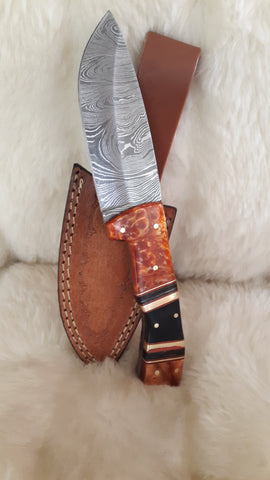 "CUSTOM DAMASCUS ""FALL FOLIAGE"" HUNTING SKINNER KNIFE"