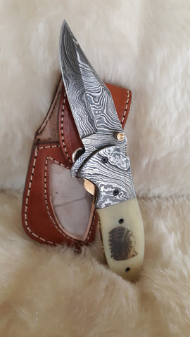 """INDIAN SPIRIT"" DAMASCUS SCRIMSHAW CAMEL BONE W/SHEATH"