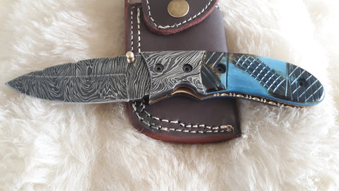 """INDIGO"" DAMASCUS CAMEL BONE POCKET FOLDER W/SHEATH"