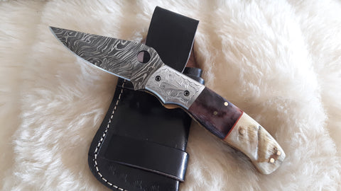 """MERLOT"" DAMASCUS/CAMEL/RAM HORN FOLDER W/CROSS DRAW SHEATH"