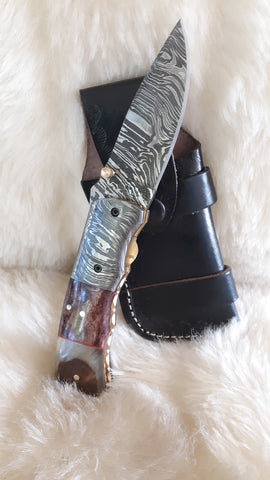 """CHAMPAGNE WISHES"" DAMASCUS/CAMEL/RAM HORN POCKET KNIFE"
