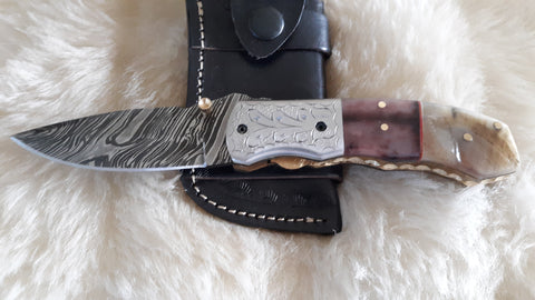 """WORKHORSE"" DAMASCUS/CAMEL/RAM HORN POCKET KNIFE"