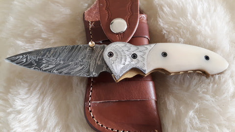 """BLONDIE"" DAMASCUS/CAMEL POCKET KNIFE W/CROSS DRAW SHEATH"