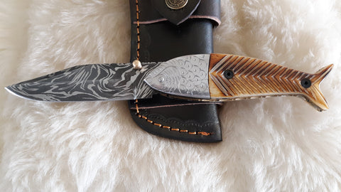 """FISH TALES"" DAMASCUS/ENGRAVED CAMEL BONE POCKET FOLDER W/SHEATH"