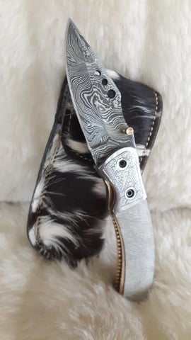 """HIDE ON HAIR-""WHITE STALLION"" DAMASCUS POCKET KNIFE"