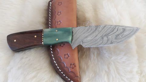 "CUSTOM DAMASCUS ""JADED"" OLIVE WOOD/BONE HUNTER"