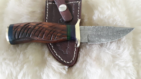 "CUSTOM DAMASCUS ""CAT SCRATCH FEVER"" WALNUT WOOD HUNTING KNIFE"