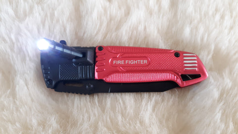 FIRE FIGHTER TACTICAL RESCUE KNIFE W/LED