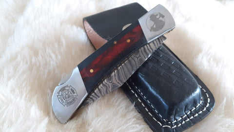 """THIN RED LINE"" FIRE FIGHTER HAND MADE DAMASCUS FOLDER W/LEATHER SHEATH"