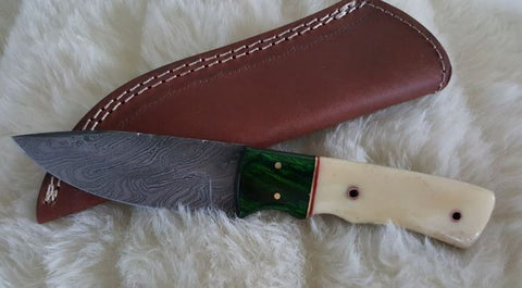 "CUSTOM DAMASCUS ""EMERALD ISLE"" CAMEL BONE/WOOD HANDLE KNIFE W/SHEATH"