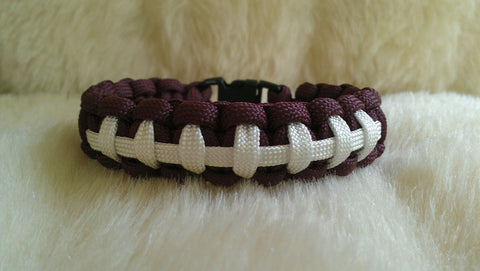 FOOTBALL LACES PARACORD BRACELET-CHOOSE SIZE