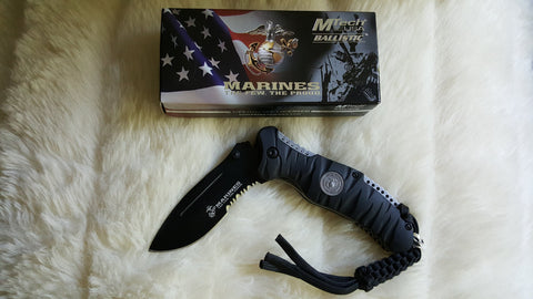 MARINES TACTICAL Rescue Knife-New-Black