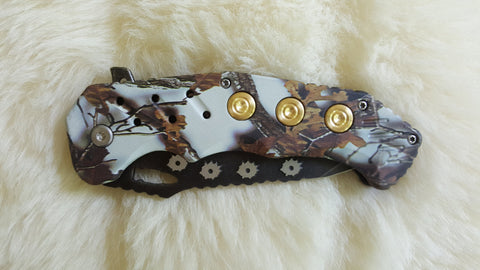BULLET CASING-Hole- Camo Pocket Knife-New