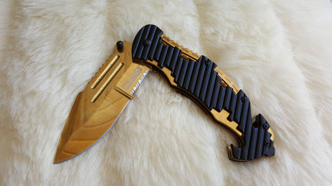 GOLD TITANIUM Coated Tactical Rescue Knife-New