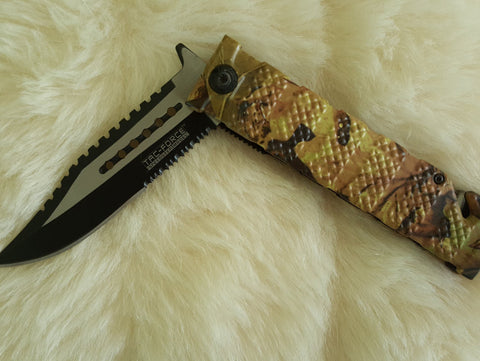 CAMO SAWBACK Bowie Tactical Rescue Knife-New