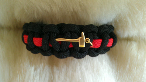 "Fireman Red Thin Line ""Axe""  Paracord Survival Bracelet"