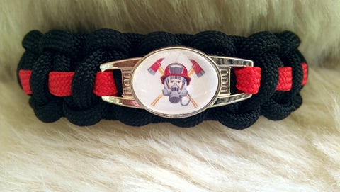 Firefighter Red Thin Line Paracord Survival Bracelet-Choose Size