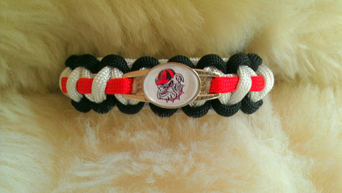 NCAA Georgia Bulldogs Paracord Survival Bracelet-Choose Size
