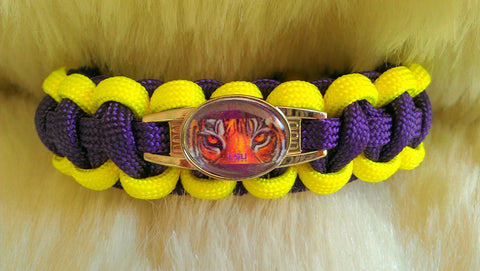 NCAA LSU Tigers Parcord Survival Bracelet-Choose Size