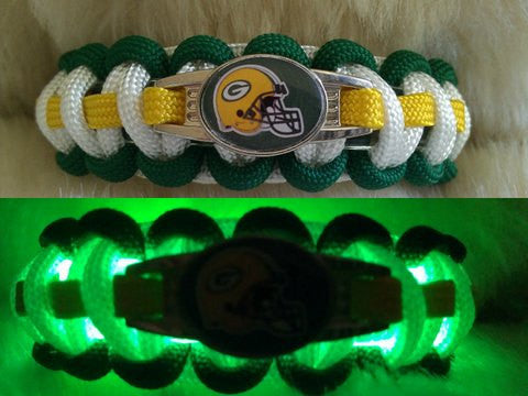 "NFL Green Bay Packers ""Light Up"" Paracord Survival Bracelet"