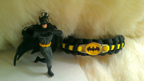 Batman Paracord Bracelet/Batman Keychain Combo-Choose Size