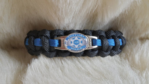 Police Thin Blue Line Paracord Bracelet-Select Size