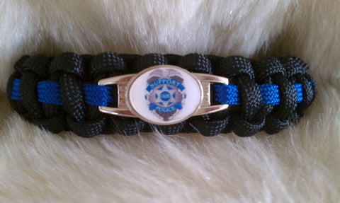 POLICE THIN BLUE LINE BADGE PARACORD BRACELET