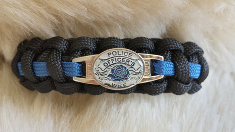 Police Thin Blue Line Officers Wife Paracord Bracelet-Choose Size