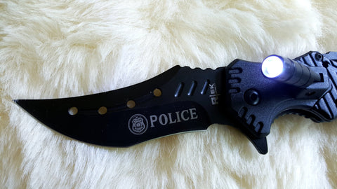 POLICE KARAMBIT Tactical Knife with LED Light-New