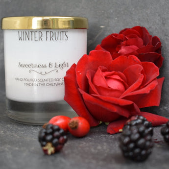 Luxe White Glass 'Winter Fruits' Scented Candle
