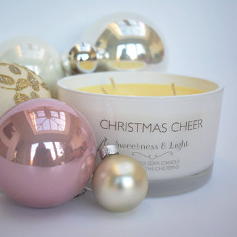 3-Wick White 'Christmas Cheer' Scented Candle - Can be personalised