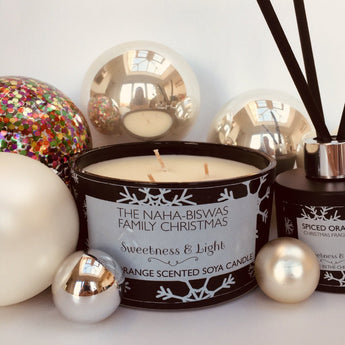 3-Wick Black Glass Christmas Scented Candle, choose from two Christmas scents - Can be personalised
