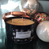 3-wick Black Glass 'Christmas Cheer' Scented Candle