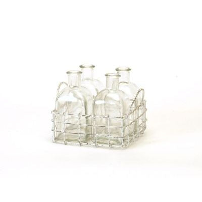 Square White Wire Basket with Glass Bottles