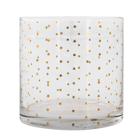 Short Drinking Glass with Gold Stars