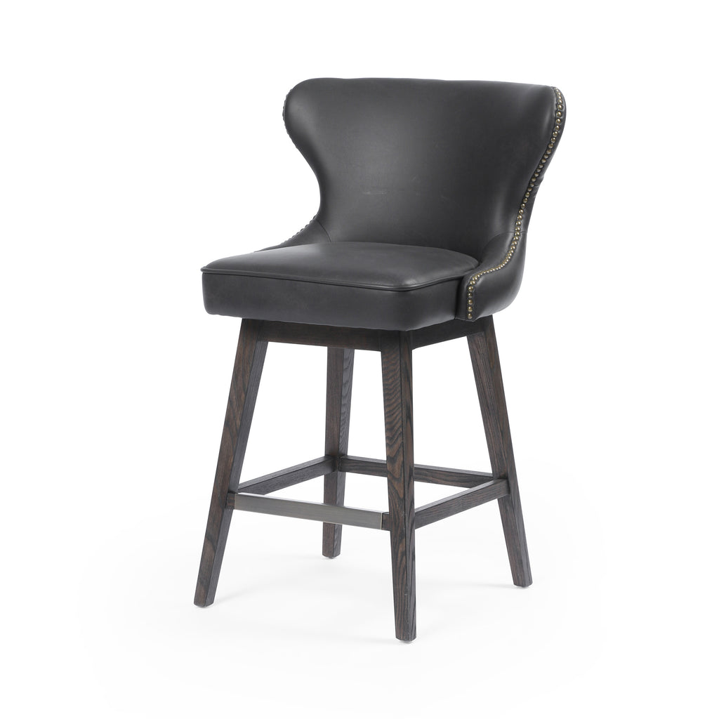 Julie Swivel Counter Stool - Distressed Black