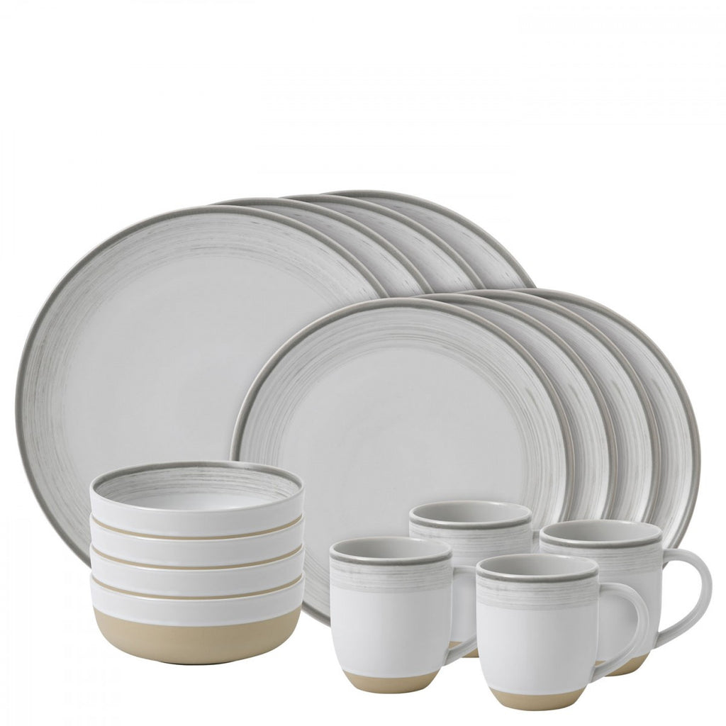 Ellen DeGeneres Brushed Glazed Soft White 16 Piece Set