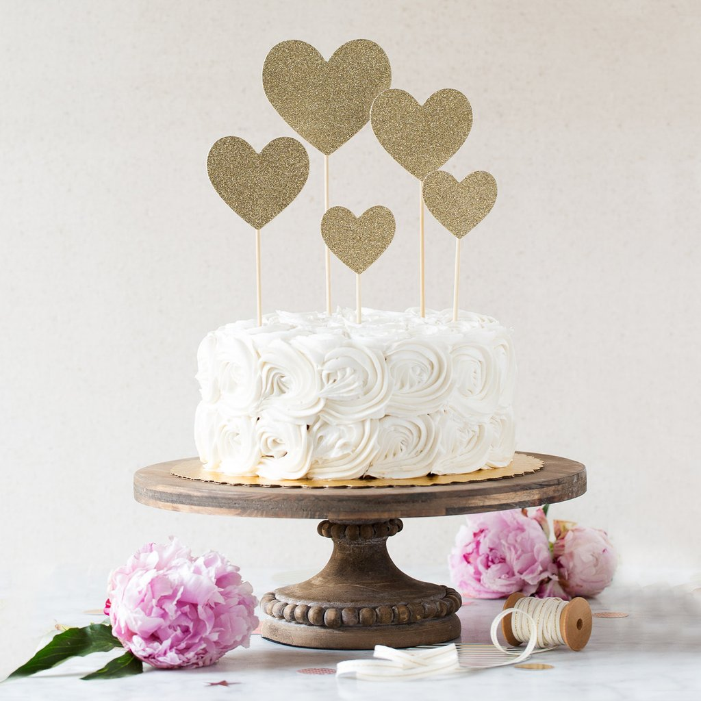 Fancy Cake Topper - Glitter Hearts