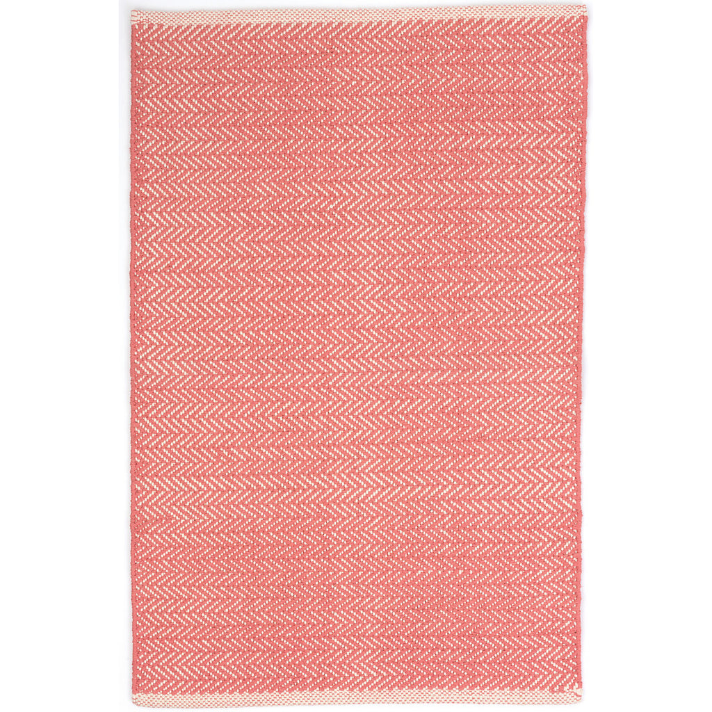 Dash & Albert - Herringbone Coral Woven Cotton Rug
