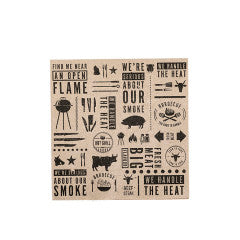 BARBEQUE NAPKINS 20PK - BLACK LARGE