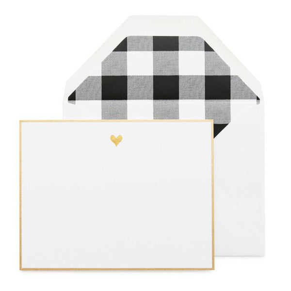 Gold Heart Black Note (set of 6)