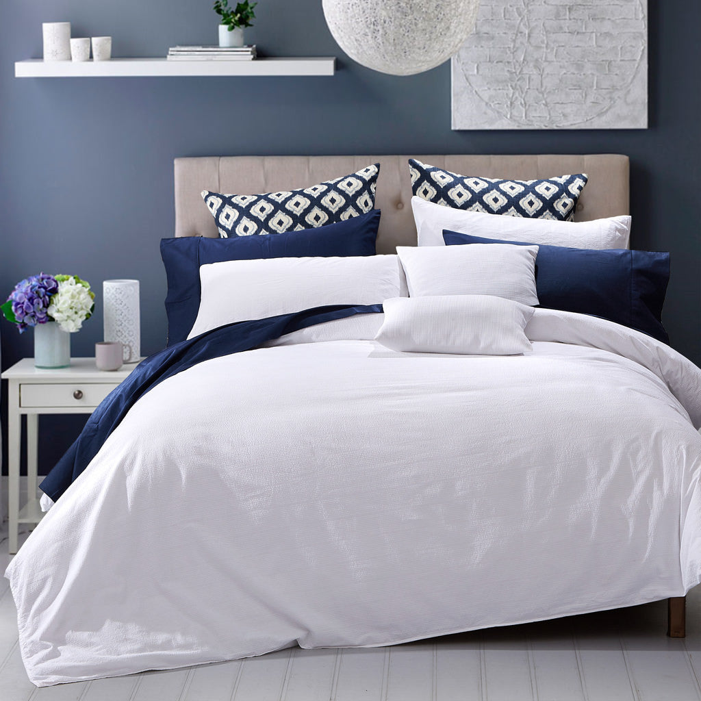 Seersucker Duvet Cover Set White