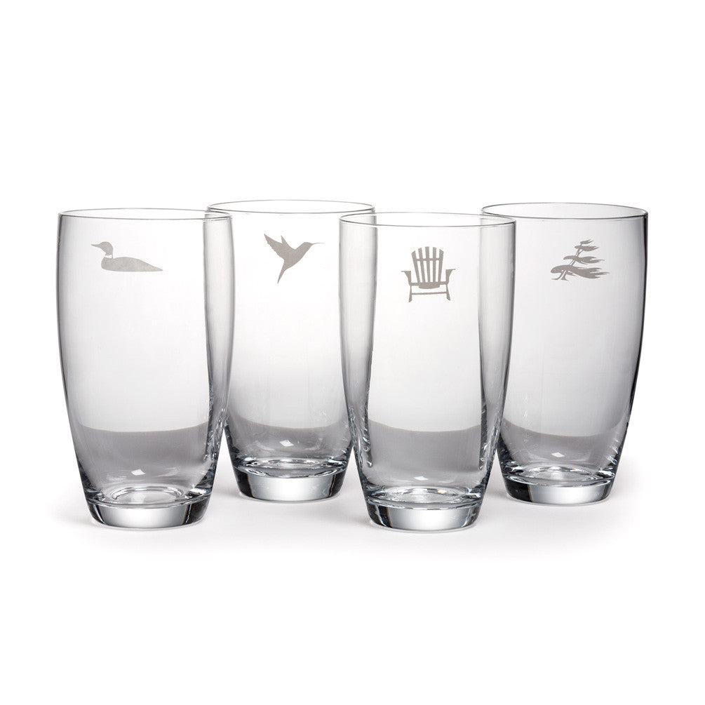 Cottage Life High Ball Glasses set of 4
