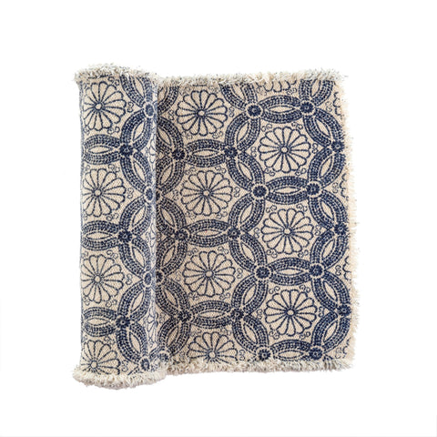 Daisy Stonewashed Table Runner, Light Blue
